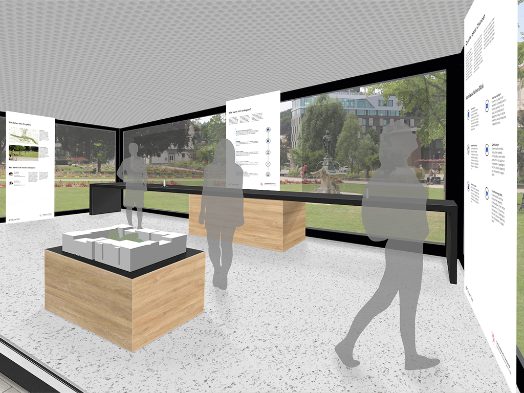 A 3D mockup showing the interior of Quartier Lab.