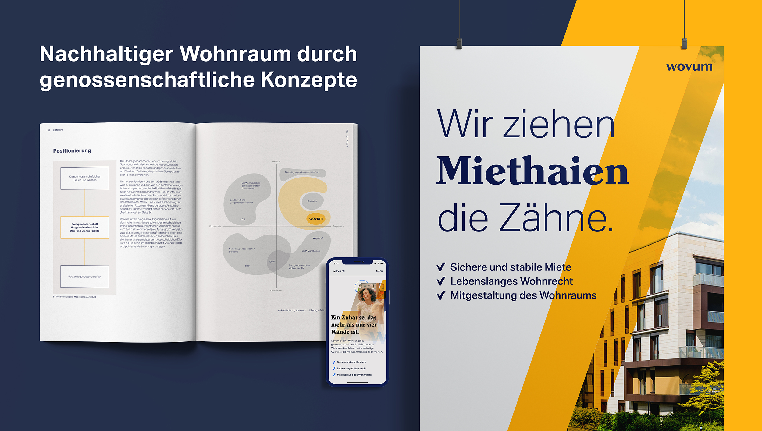 The key visual shows a flatlay of the printed documentation, a mobile view of the wovum landing page as well as a hanging poster mockup.
