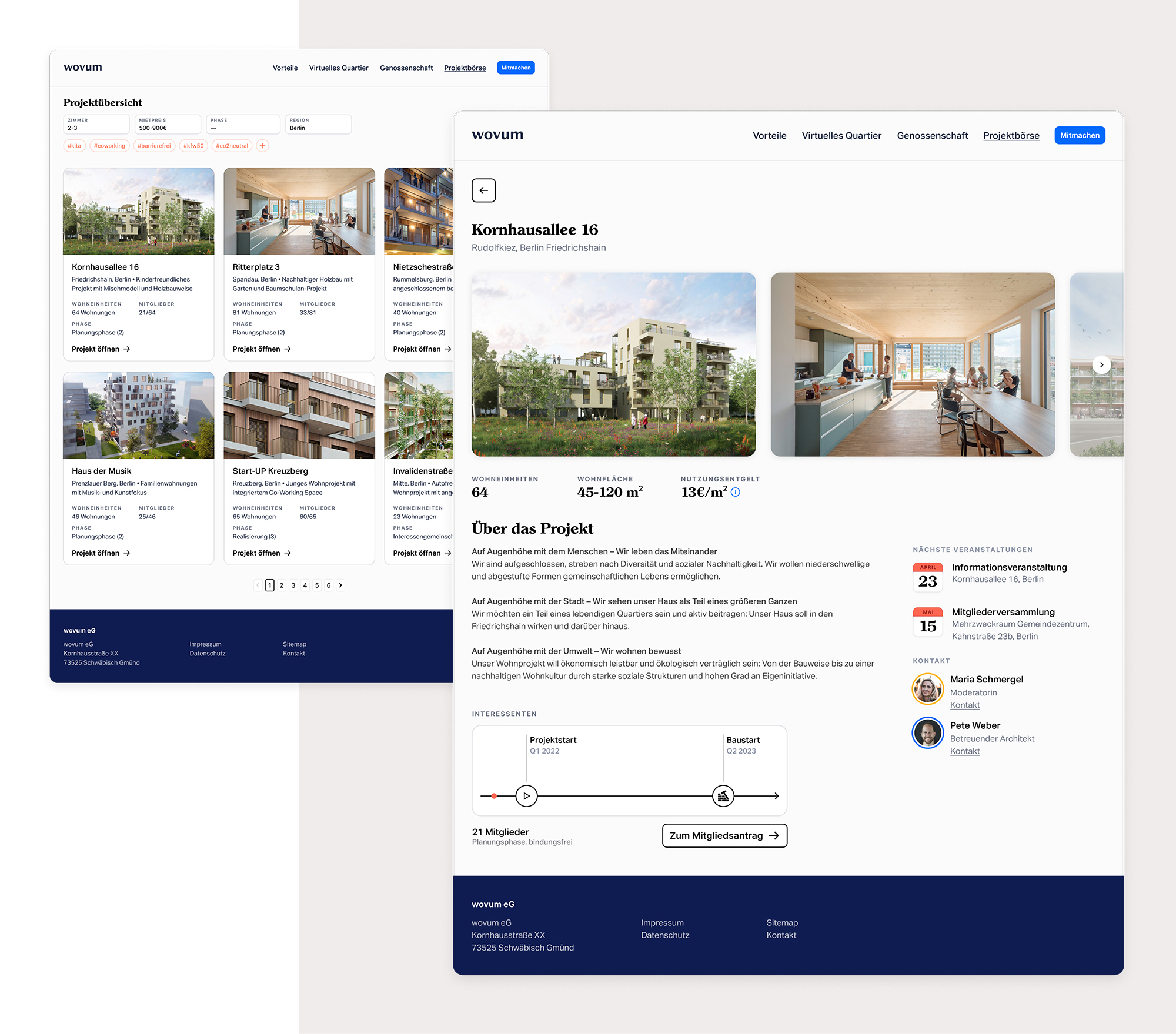 The image shows two user interface mockups that show the project directory and project detail page.