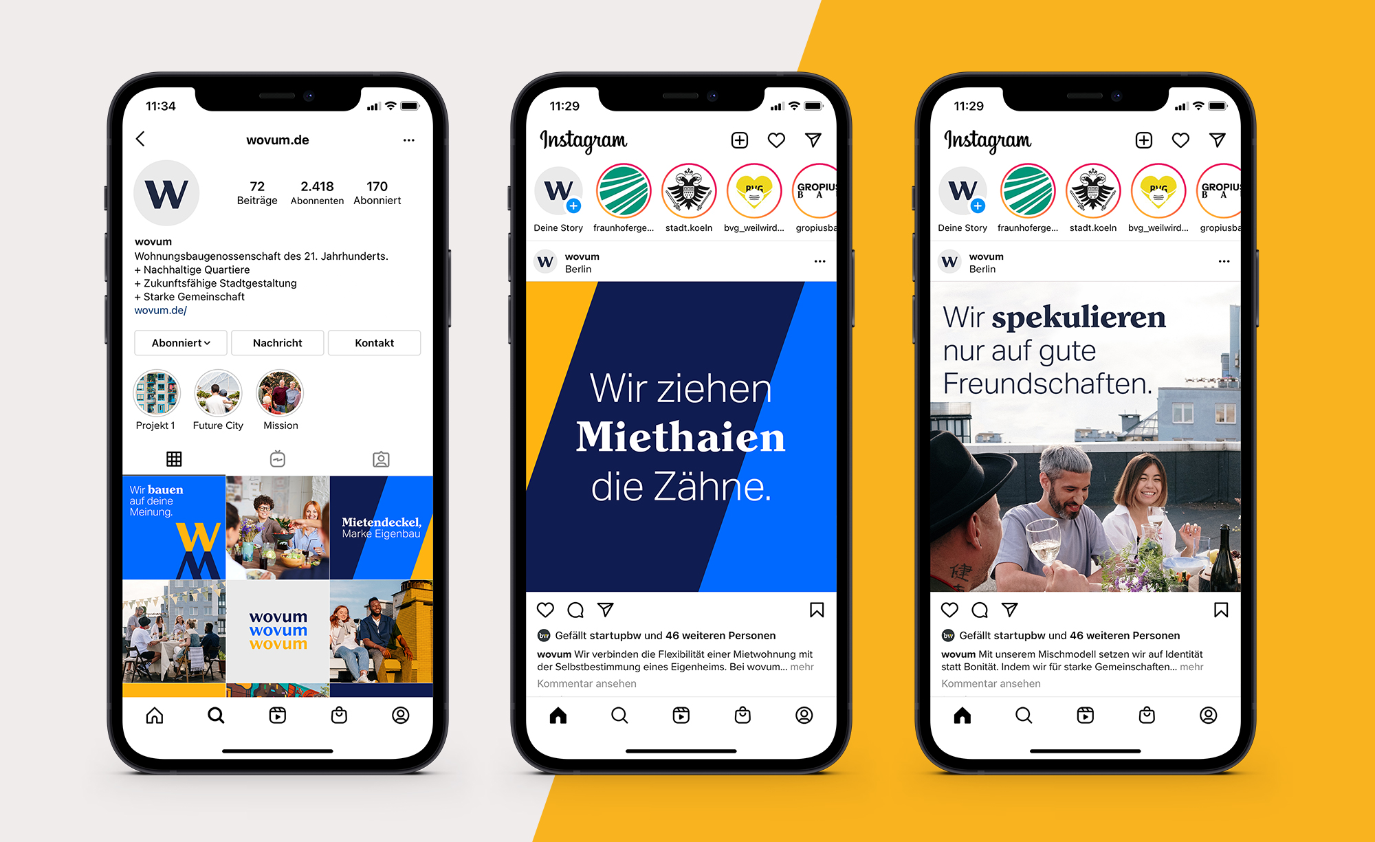 The image shows three phone mockups showcasing the social media part of the wovum communication strategy.